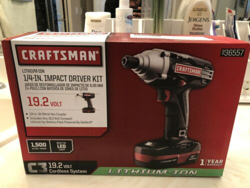 Buy Brand New Craftsman C3 19.2V Lithium Ion 1/4-Inch Impact Driver Kit Power Drill