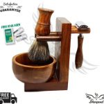 Buy Brown 5 Piece Shaving Set | DE Safety razor & Badger Brush | Men's Gift Kit