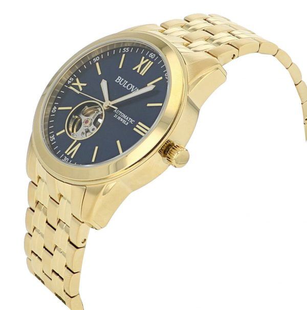 Buy Bulova Men's 97A131 Automatic Open Heart Blue Dial Gold Tone Bracelet 42mm Watch