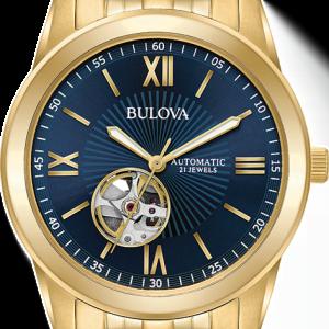 Buy Bulova Men's 97A131 Automatic Open Heart Blue Dial Gold Tone Bracelet 42mm Watch