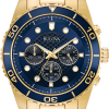 Buy Bulova Men's 98A172 Quartz Marine Star Chronograph Blue Dial Bracelet 43mm Watch