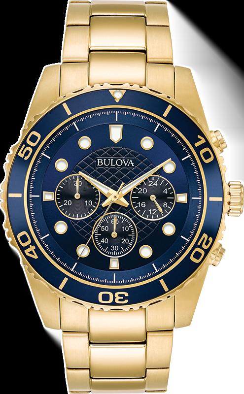 Buy Bulova Men's 98A172 Quartz Marine Star Chronograph Blue Dial Bracelet 43mm Watch