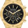Buy Bulova Men's Quartz Chronograph Black Dial Gold-Tone Bracelet 43mm Watch 97B161