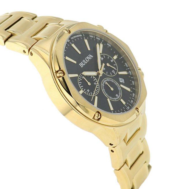 Buy Bulova Men's Quartz Chronograph Black Dial Gold-Tone Bracelet 43mm Watch 97B161