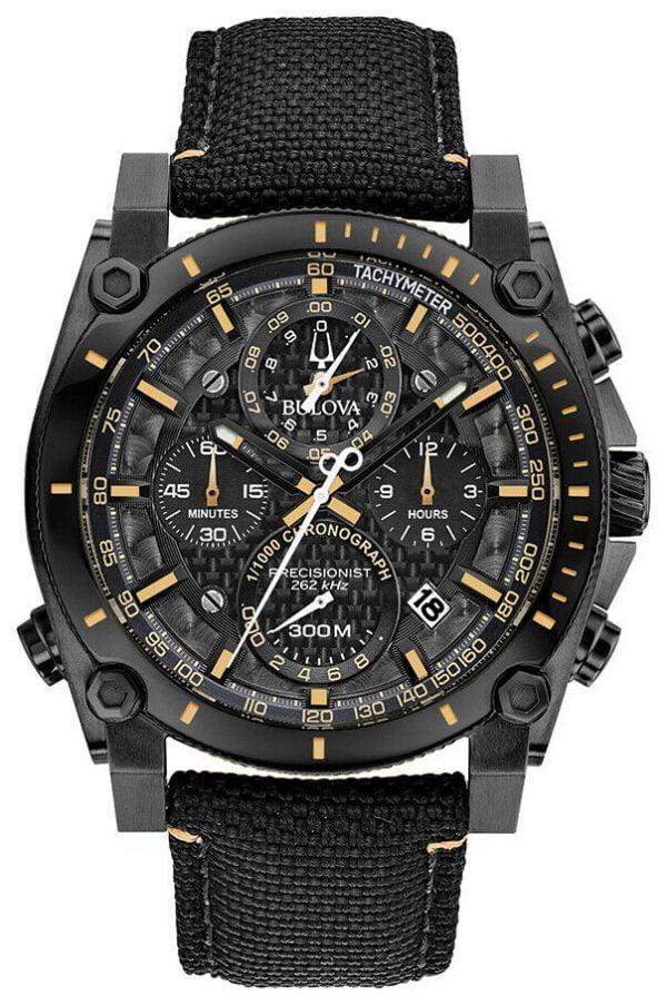 Buy Bulova Precisionist Men's Quartz Black Nylon Strap 46mm Watch 98B318