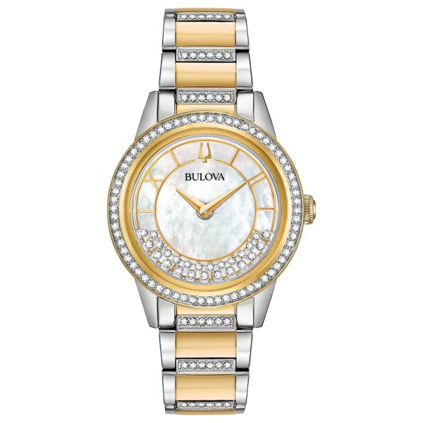 Buy Bulova Women's Quartz Crystal Accent Two-Tone Bracelet 32mm Watch 98L245