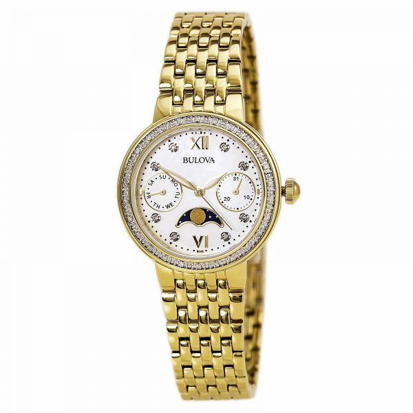 Buy Bulova Women's Quartz Diamond Accent Gold-Tone Bracelet 32mm Watch 98R224