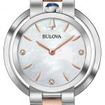 Buy Bulova Women's Quartz Diamond Accent Pink Leather Strap 35mm Watch 96P197