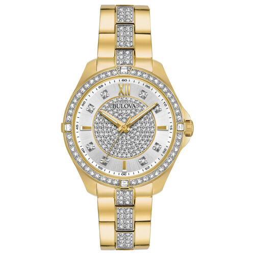 Buy Bulova Women's Quartz Swarovski Crystal Accents Gold-Tone 35mm Watch 98L228
