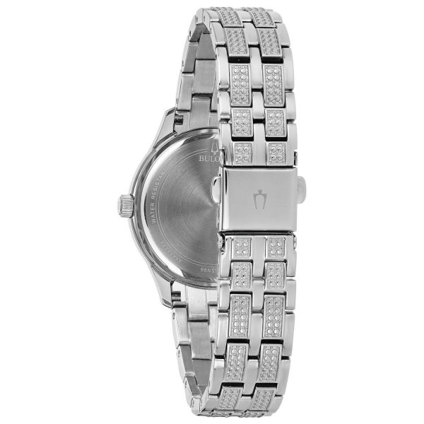 Buy Bulova Women's Quartz Swarovski Crystal Silver-Tone Black Dial 33mm Watch 96N110
