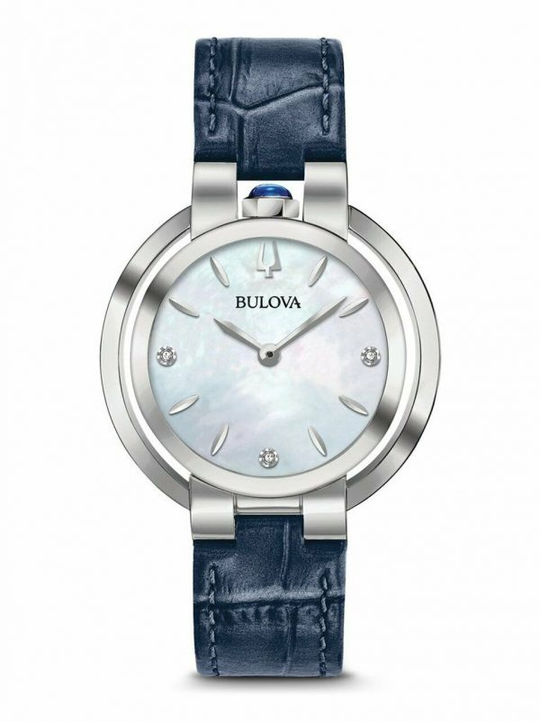 Buy Bulova Women's Rubaiyat Quartz Diamond Accent Markers Blue 35mm Watch 96P196