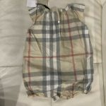 Buy Burberry Baby Girl Pale Classic Check 12M Romper W/ Bow NWT!