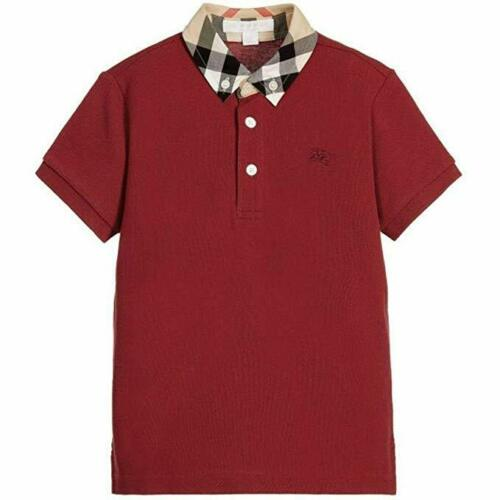 Buy Burberry Kids William Polo Big Kids Military Red Boy's Short Sleeve Knit, 14Y
