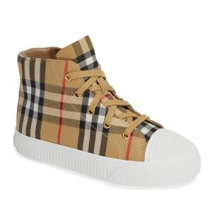 Buy Burberry Toddler Unisex Belford Check Print Sneaker Sz 32 EU / 13.5 US White NIB