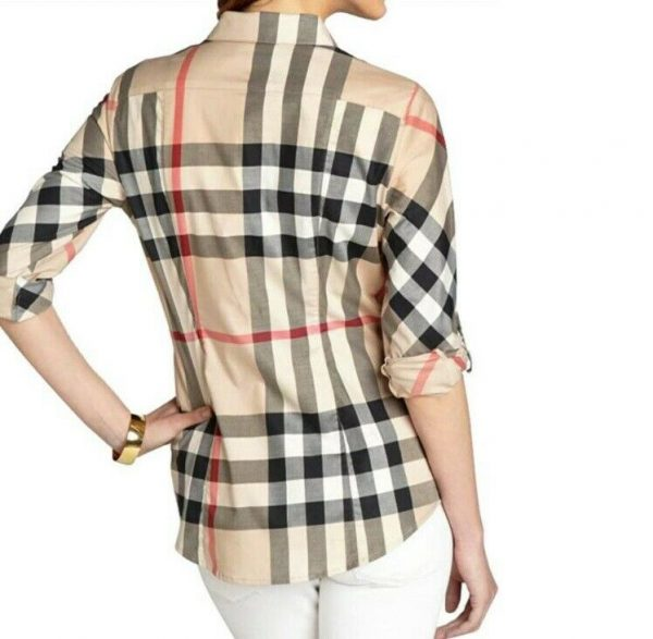 Buy Burberry Women Stretch Cotton Casual Shirt Beige Large Size