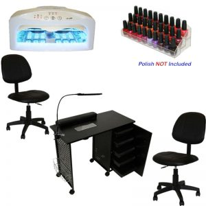 Buy COMPLETE  Manicure Station Vented Nail Table UV Dryer Polish Rack Ergo Chair