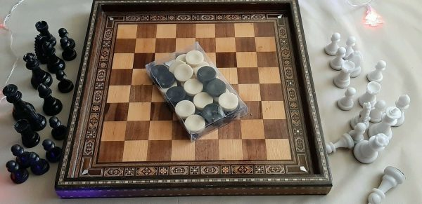 Buy Chess Board/Checkers - Handmade High Detail Wooden Game+Complete set of 32 piece