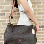 Buy Coach F28967 Signature Mia Large Shoulder Bag Crossbody Brown Black Pink