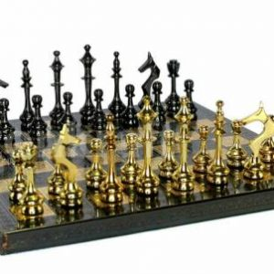 """Buy Collectible 100% Brass Vintage Chess board game set 10"""" with brass pieces/coins."""