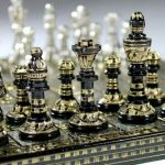 Buy Collectible Large 100% Brass Vintage Chess board game set for adults 14X14 inch
