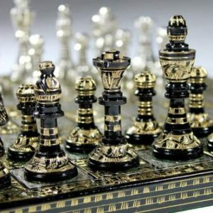 """Buy Collectible Full Brass Chess Set 12"""" hand carved with 100% brass pieces/coins."""