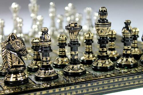 "Buy Collectible Full Brass Chess Set 12"" hand carved with 100% brass pieces/coins."