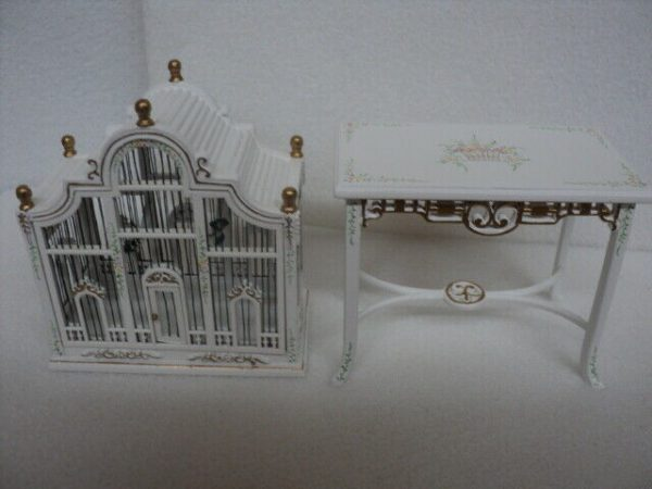 Buy DOLLHOUSE BIRDCAGE- 2-PC. WHITE- HANDPAINTED