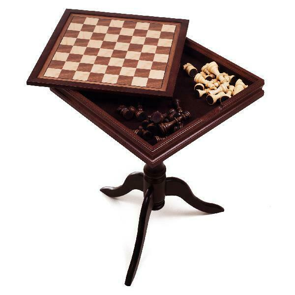 Buy Deluxe Chess Set &amp Backgammon Wooden Table by Hey! Play! 17 x 17 inches