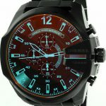 Buy Diesel Men's Mega Chief DZ4318 Black Stainless-Steel Plated Japanese Automati...