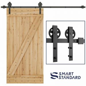 Buy Durable Sliding Barn Door Hardware with Big Industrial Wheel Hanger - 8ft Rail