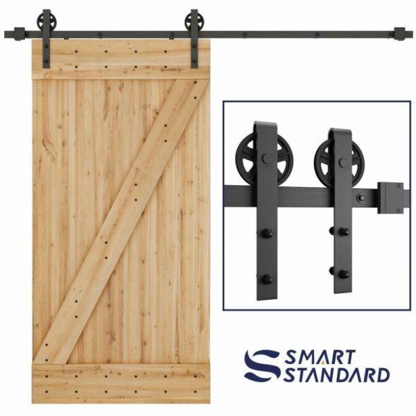 Buy Durable Sliding Barn Door Hardware with Big Industrial Wheel Hanger - 8ft Rail