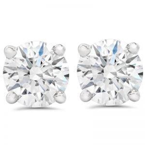 Buy F SI 1.50 ct Round Round Diamond Studs with Screw Backs 14k White Gold Enhanced