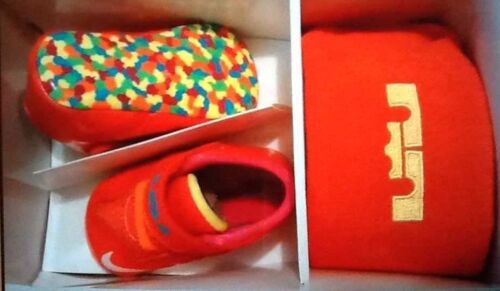 Buy FRUITY PEBBLES NIKE Lebron XI GIFT PK Crib shoe 1C Crimson Orange PINK FREE SHIP