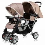 Buy Foldable Twin Baby Double Stroller Kids Jogger Travel Infant  Pushchair Gray