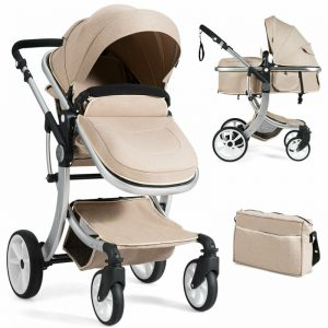 Buy Folding Aluminum Infant Bassinet Reversible Baby Stroller W/ Diaper Bag Beige