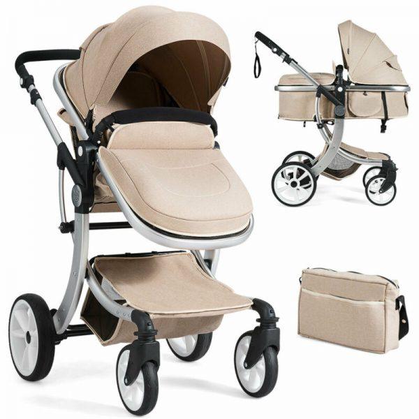 Buy Folding Aluminum Infant Bassinet Reversible Baby Stroller W/ Diaper Bag Beige