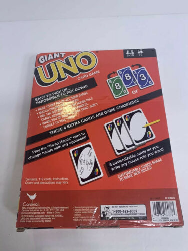 Buy GIANT UNO SIZED CARDS, 7.4 X 10.1 INCHES, CARDINAL, VERY RARE-NEW