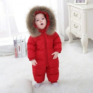 Buy Girl Winter Overalls  Rompers Duck Down Jumpsuit collar Thick Children Outerwear
