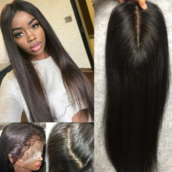 Buy Glueless Straight Full Lace Front Wigs Pre Plucked Brazilian Remy Human Hair Wig