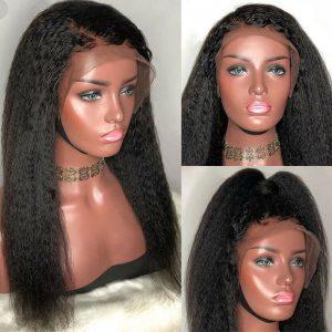 Buy Glueless Yaki Kinky Straight Lace Front Wigs Malaysian Remy Human Hair Wig Women