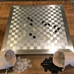 Buy Go Game Brushed Aluminum Board with Black and Translucent White Agate Stones