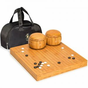 Buy Go Game Set with Bamboo Go Board (2 inches Thick), Double Convex Melamine