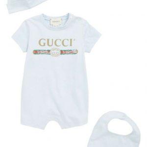 Buy Gucci Baby Cotton Gift Set Romper, Cap And Bib Set, Pale Blue NEW IN BOX NIB
