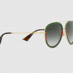 Buy Gucci Green Aviator Metal Sunglasses Gold Metal With Green and Red Web Frame