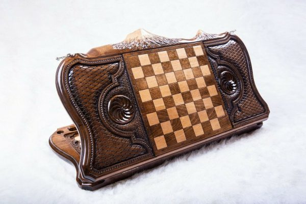 Buy HANDMADE WOODEN VINTAGE BACKGAMMON BOARD SET - COATS OF ARMS OF ARMENIA