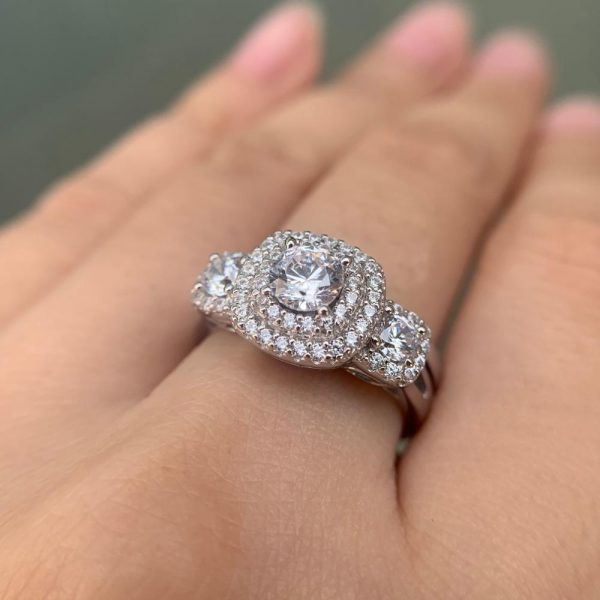 Buy Newshe Halo Wedding Ring Set For Women 925 Sterling Silver Engagement Rings Classic Jewelry 1.3 Ct Round Cut AAA Cubic Zirconia