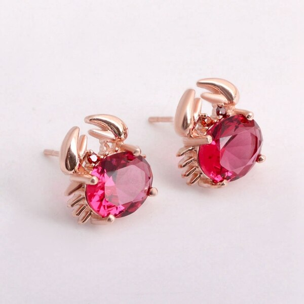 Buy US STOCK Stud Earrings with Stone Purple Rose Gold Color Crab Earings Pendientes for Women Earring Jewelry Uloveido 20% R695