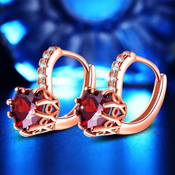 Buy US STOCK Uloveido Korean Wedding Earrings for Women Earings with Red Heart Stones Rose Gold Color Stud Earring HE515