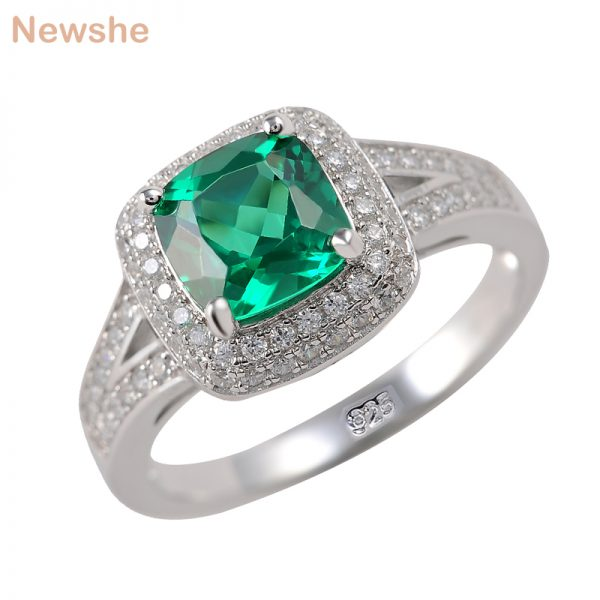 Buy Newshe 925 Sterling Silver Wedding Engagement Rings For Women 2 Ct Green AAA CZ Party Cocktail Ring Fashion Jewelry