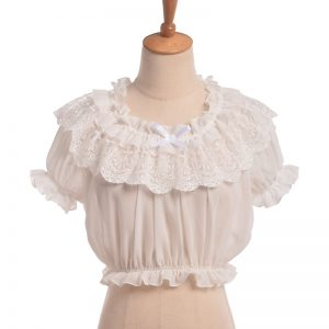 Buy Women Crop Top Blouse Lolita Frilly Chiffon White/Black Puff Sleeve Lace Bottoming Undershirt
